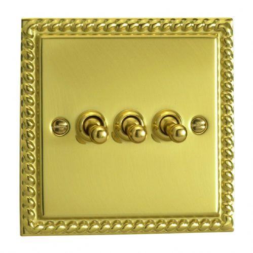 Varilight XGT3 Georgian Polished Brass 3 Gang 10A 1 or 2 Way Toggle Light Switch